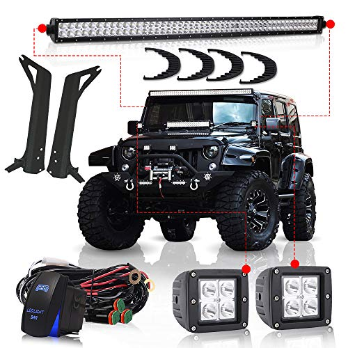 TURBOSII For 1997-2006 Jeep Wrangler TJ 50Inch Led Light Bar Offroad Light Osram Chips w/Upper Roof Windshield Lower Corner Mounting Brackets + 2PC 3″ Led Pods Cube Fog Lights + DT Wires Rocker Switch
