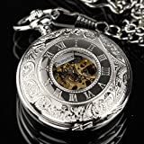 Mens Antique Style Steampunk Mechical Pocket Watch Chain Vintage