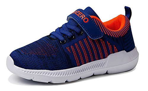 Boys Tennis Shoes - Vivay Kids Lightweight Sneakers Boys Girls Easy Walk Velcro Running Tennis Shoes(13 M US Little Kid,Blue Orange)(size 32)