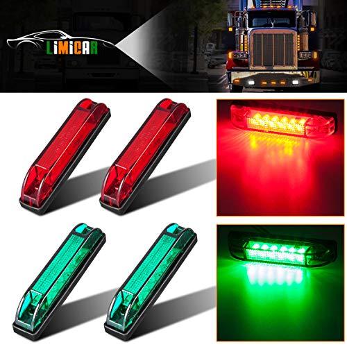 LIMICAR 4PCS Slim Line 2Green + 2Red 6 Diodes LED Utility Strip Lights for Boat Marine Navigation RVs Vehicles