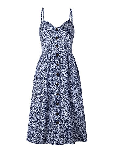 OCHENAT Women's Floral Spaghetti Strap Button Front Swing Midi Dress with Pockets Color #6 Navy Floral ()