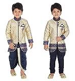 KLAUD ZEE Kids Ethnic Indo-Western Kurta Waistcoat and Dhoti Pant for Boys_NVY455-5