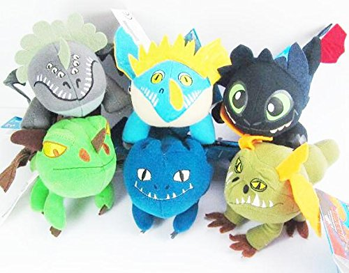 """How To Train Your Dragon Plush Set - 6 Dragons approx 3-5"""" (Terrible Terror, Nighty Fury, Red Death, Gronkle , Toothless and Deadly Nadder)"""