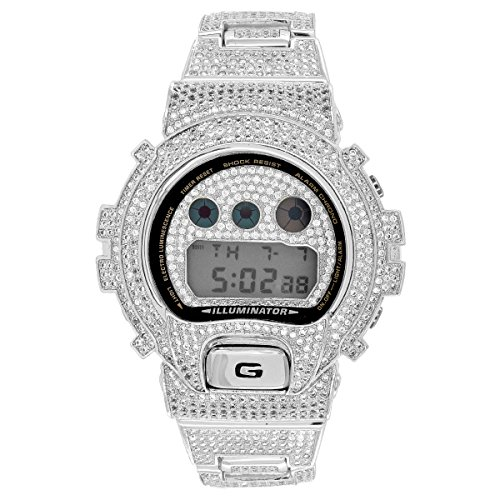 Designer G Shock Watch Iced Out White Finish DW6900 Simulated Diamonds ()