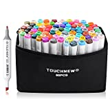 80 Set Color TOUCHNEW Marker Pen Drawing Painting Art Dual Tip Sketch Twin Tip Design with Carry Bag Comic Selection in White