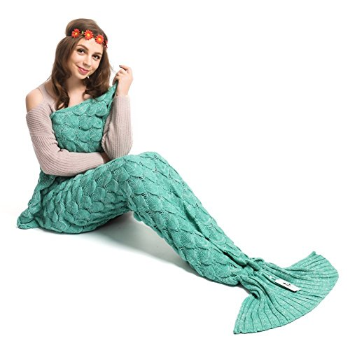 Price comparison product image Kpblis Knitted Mermaid Tail 71-Inch-by-35-Inch Blanket Green 1