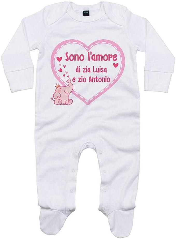 Foto Pariando Tutina con Maniche Lunghe e Piedini neonata in Cotone Biologico Sono LAmore della Zia