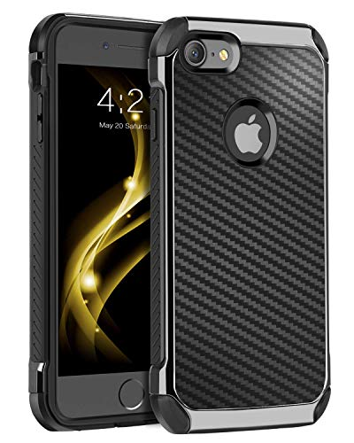 BENTOBEN iPhone 8 Case, iPhone 7 Case, Drop Protection Anti-Scratch Dual Layer Hybrid Hard PC Carbon Fiber Texture Shockproof TPU Bumper Protective Case for iPhone 7 / iPhone 8 (4.7 Inch), Black (Best Iphone 7 Cases For Drop Protection)