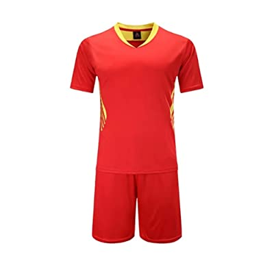 KINDOYO Boys and Men's Short Sleeve Sportswear Teamwear Training Soccer Uniform Suit