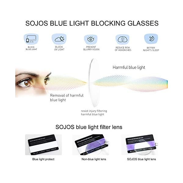 SOJOS Retro Round Blue Light Blocking Glasses TR90 Computer Eyeglasses Ashley SJ9001