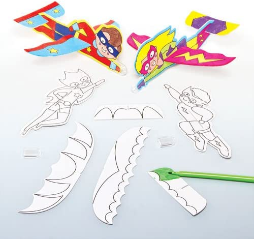 Amazon Com Baker Ross Color In Superhero Gliders Throwing Plane Gliders Toys Perfect For Kids Party Bag Fillers Or Gift Ideas Pack Of 8 Toys Games