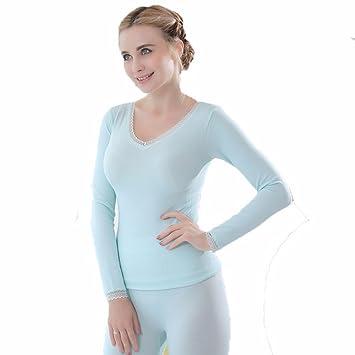LVLIDAN Mujer Ropa interior térmica Manga larga pantalón invierno Sección delgada body sculpting representación azul todo