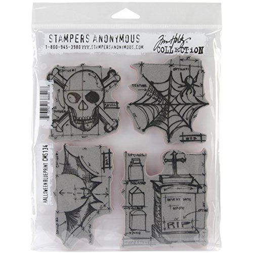 Stampers Anonymous Tim Holtz Cling Rubber Stamp Set, 7 by 8.5-Inch, Halloween -