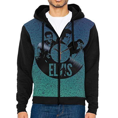 Elvis Presley Men Sweatshirts Casual Long Sleeve Zipper Hoodie Pullover Coat -