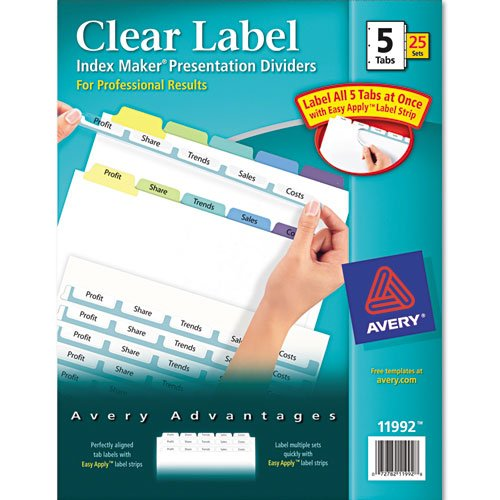 Avery 11992 Index Maker Color Tab Dividers, 5-Tab Set, Letter Size, 25 Sets/BX