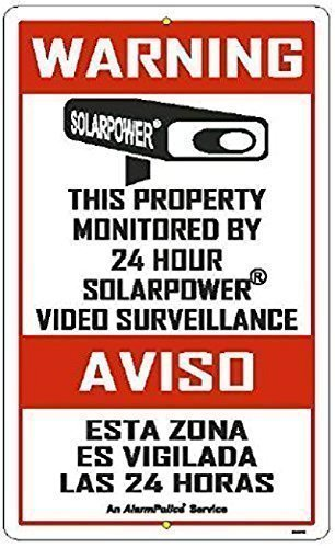 "AUTHENTIC SECURITY SIGN - 1 Commercial & Home 18"" x 11"" Alarm Sign, English & Spanish Surveillance Video CCTV Warning! Deterrence Sign"