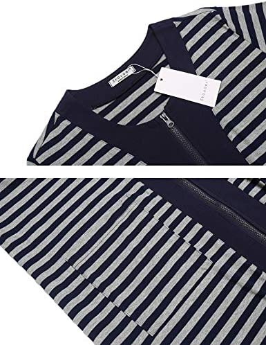Ekouaer Zipper Front Housecoat Short Sleeve & Half Sleeve Zip Nightgown Long Houedress with Pockets