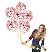 12 Inch Confetti Balloons Pink and Gold | Clear Transparent Latex Balloon with Confetti Pink, Magenta & Gold | Top Quality Baby Shower Decorations, Birthday Parties (Pink Theme A, Prefilled 12pcs)