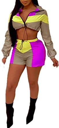 Tymhgt Womens 2 Piece Outfits Lightweight Windbreaker Colorblock Pullover Crop Top Shorts