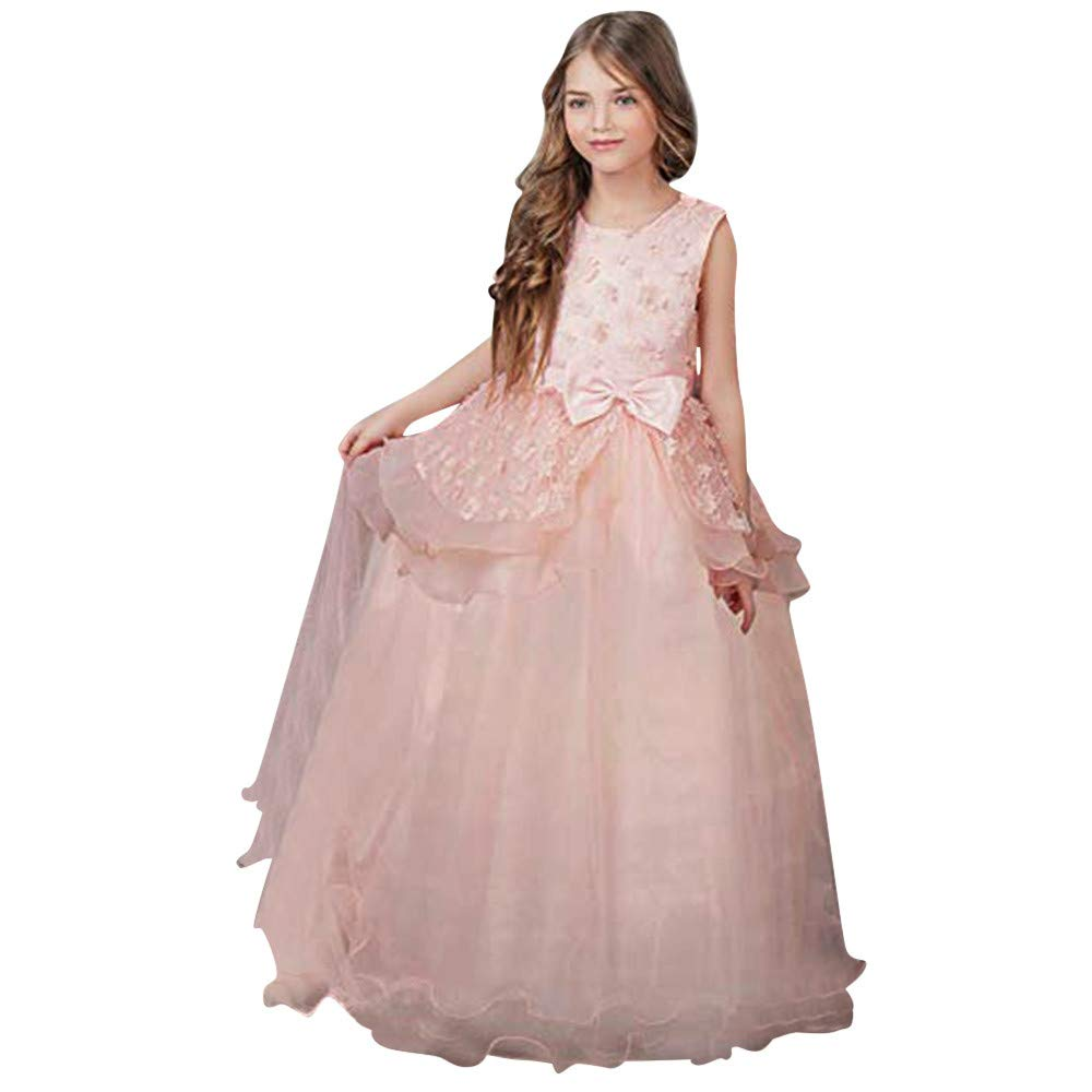 Girl Embroidery Princess Pageant Dresses Kids Prom Ball Gown Bridesmaid Pageant Gown Birthday Party Wedding Dress Pink by Wenini