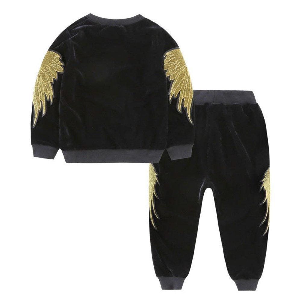 Mrsrui Kids Boy Girl Plus Cashmere Long Sleeve Sweatshirts+Pants Fall Outfits Sweater Suit