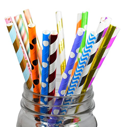 Long lasting assorted biodegradable Paper Straws 150 Count (Combo Random) ()