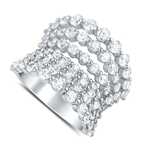 Sterling Silver 7 Row Concave Simulated Diamond Statement Ring - Size 8 (Concave Ring Cut Diamond)
