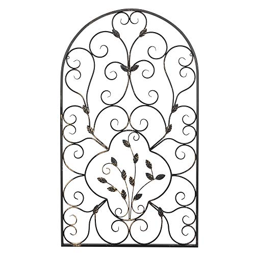 Leaf Design Wall Grille - Matladin Metal Wall Decor for Living Room, Vintage Metal Wall Art Home Decor, Christmas Iron Wall Decor for Bedroom, Antique Rust Decorative Outdoor Wall Decor Rustic, 41x23.8 Inches