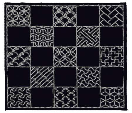 Sashiko Furoshiki Pre-Printed Sampler Placemat # SC-EM290 - 13 Traditional Japanese Designs ()