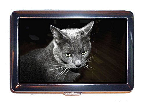 Cat Grey Elegant Gorgeous Photograph: Stainless Steel ID or Cigarettes Case (King Size or 100mm) -