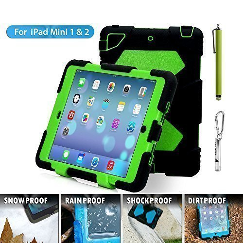 Aceguarder global design new products iPad mini 1&2&3 case snowproof waterproof dirtproof shockproof cover case with stand Super protection for kids Outdoor adventure sports tourism Gifts Outdoor Carabiner + whistle + handwritten touch pen (ACEGUARDER brand) (Black/Green)