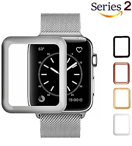 ch [38mm] 3D Curved Tempered Glass Screen Protector with Edge to Edge Coverage Anti-Scratch Ballistic LCD Cover Guard Premium HD Shield for Apple Watch Series 2 - 38mm [ Silver ] (Premium Lcd Screen Protector)