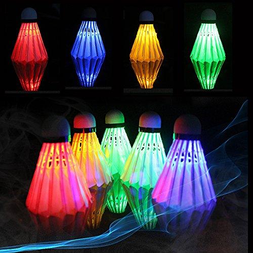 ZN LED Badminton Shuttlecocks Dark Night Glow Birdies Lighting For Outdoor & Indoor Sports Activities (Feather_4pcs)