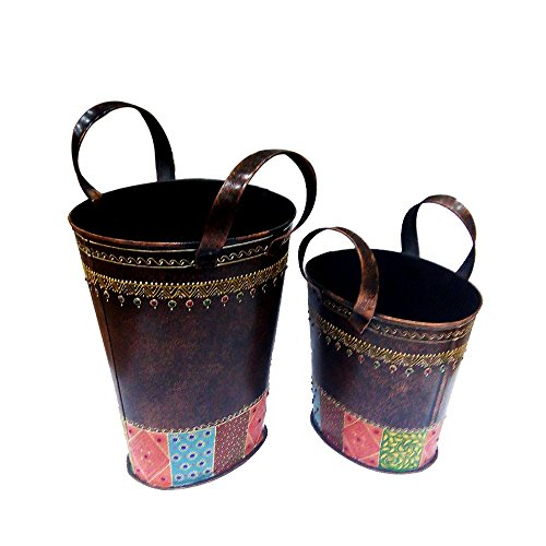 Indian Handicrafts Export Metal Magzine Holder Set of 2 by Indian Handicrafts Export