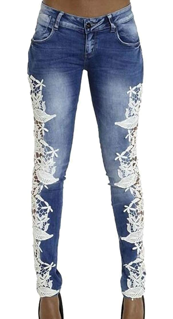Generic Womens Casual Slim Side Lace Stretch Denim Pants Skinny Jeans