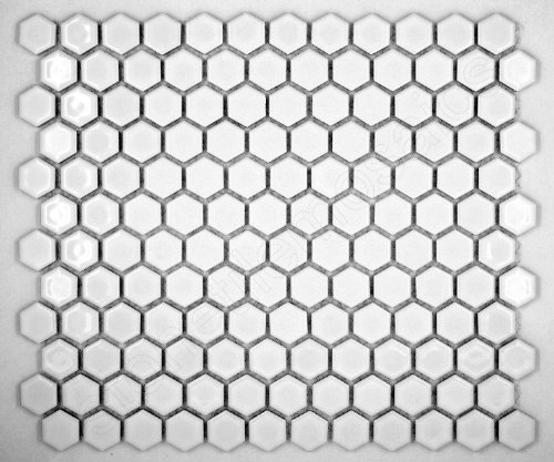 Boxes Porcelain Mosaic Tiles - Vogue Hexagon White Porcelain Mosaic Hex Glossy Tile Designed in Italy (Box of 5 sq. ft.)