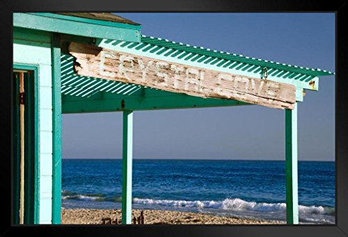 Crystal Cove State Park Historic Cottage Pacific Coastline Photo Art Print Framed Poster 20x14 inch