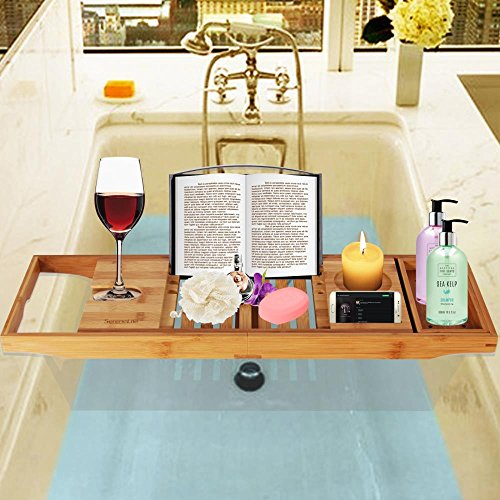 SereneLife Luxury Bamboo Bathtub Caddy Tray - Adjustable Natural Wood Bath Tub Organizer with Wine Holder, Cup Placement, Soap Dish, Book Space & Phone Slot for Spa, Bathroom & Shower SLBCAD20 by SereneLife (Image #5)