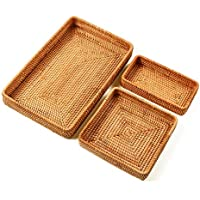 I-lan Set of 3 Handmade Rattan Rectangle Serving Tray Wicker Serving Organizer Tabletop Fruit Platter