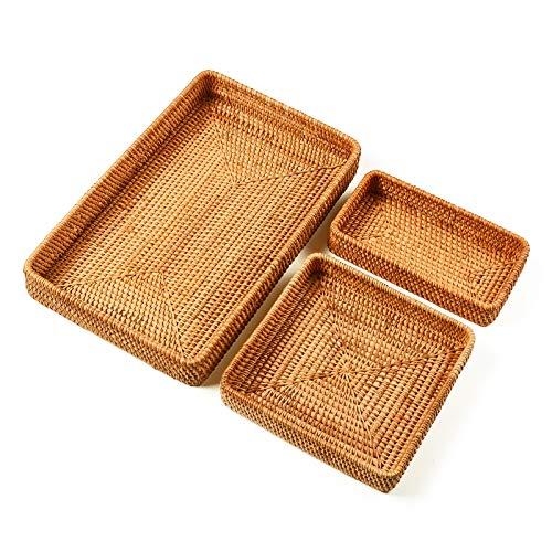 I-lan Set of 3 Handmade Rattan Rectangle Serving Tray Wicker Serving Organizer Tabletop Fruit Platter