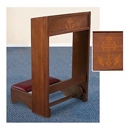 (Maple Hardwood Padded Folding Kneeler with Silk Screen Cross and Wheat Design, 32 Inch)