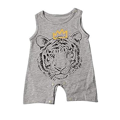 Fansxing Summer Newborn Infant Baby Boy Beast Mode Sleeveless Short Romper Jumpsuit