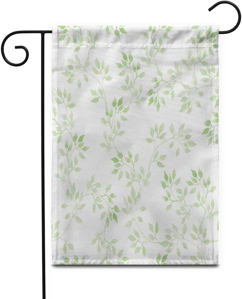 "Awowee 12""x18"" Garden Flag Watercolour Light Green Leaves Pastel Pattern Watercolor Flowers Herbal Painting Outdoor Home Decor Double Sided Yard Flags Banner for Patio Lawn"