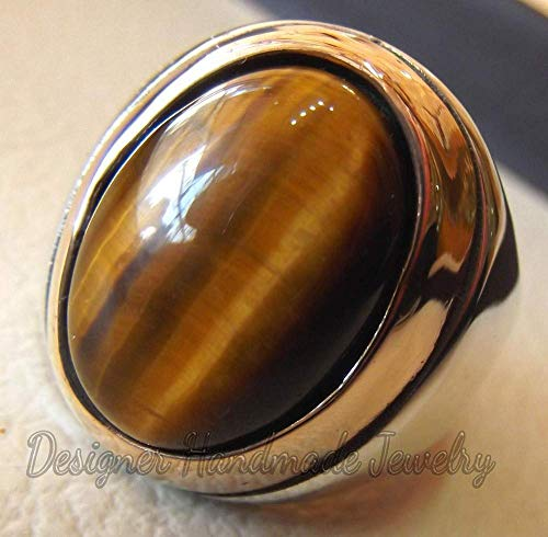 - MEN RING NATURAL TIGER EYE CAT EYE NATURAL CABOCHON SEMI PRECIOUS OVAL STONE OTTOMAN ANTIQUE ARABIC STYLE TWO TONE STERLING SILVER 925 ANY SIZE