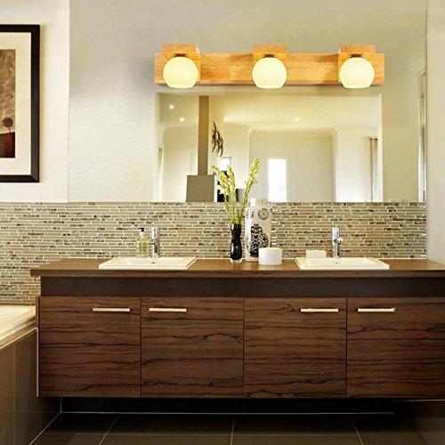 LIYAN Minimaliste Applique murale Bougeoir E26/27 Base Bois massif miroir led lampes avant salon Chinois wall lamp lampe de chevet chambre à coucher bois toilettes [Classe énergétique A+++] LIYAN Sconce