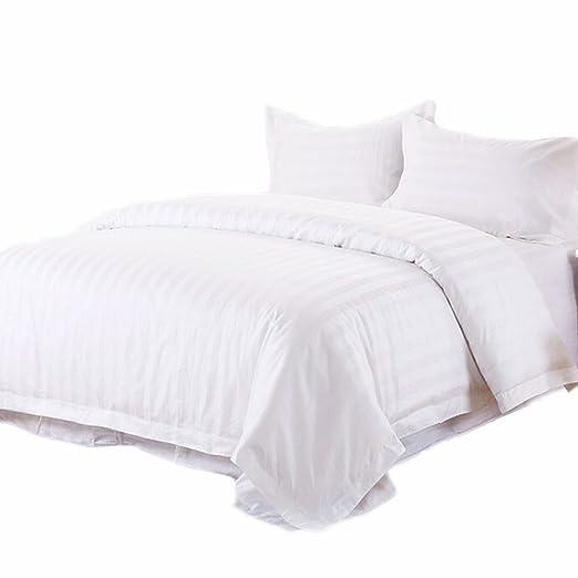 Juego de sábanas de cama de color blanco tira, Hansee 1500 hilos ...