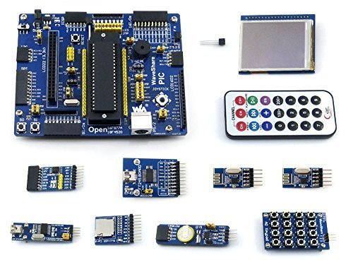 Puuli Open16F877A PIC Development Board PIC16F877A PIC16F877A-I/P 8-bit RISC PIC Microcontroller Development Board +11 Accessory Modules Evaluation Development Board Kit