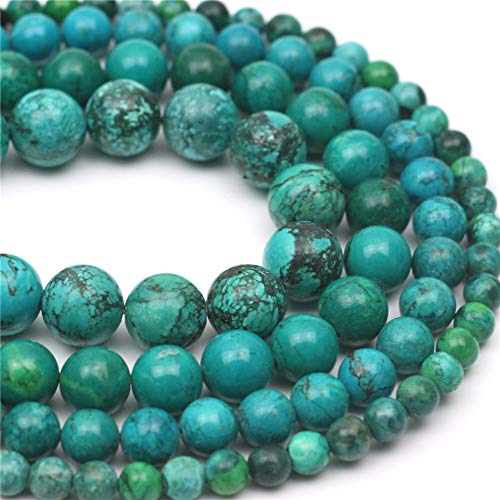 Oameusa 10mm Piebald Turquoise Beads Round Beads Gemstone Beads Loose Beads Agate Beads for Jewelry Making 15