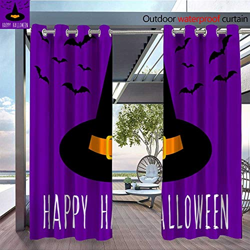 QianHe Outdoor Privacy Curtain for Pergola Happy-Halloween-Card-Template-Abstract-Halloween-Pattern-for-Design-Card-Party-Invitation-Poster-Album-menu-t-Shirt-Bag-Print-etc-4.jpg Thermal Insulated -
