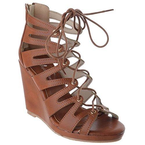 Miss Image UK Damen Hoher Absatz Ausgeschnitten Sandalen mit Keilabsatz Damen Platform spitzenkrawatte Reißverschluss Schuh Größe Kamel hellbraunes Kunstleder